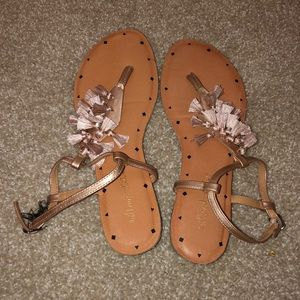 rose gold and brown sandles